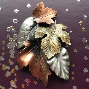 Vintage Tri-color Leaves Brooch